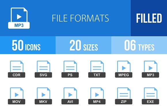 50 File Formats Blue & Black Icons