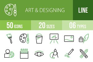 50 Art & Designing Green&Black Icons
