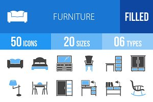 50 Furniture Blue & Black Icons