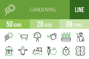 50 Gardening Green & Black Icons