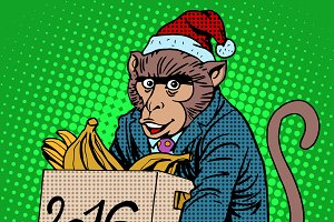Monkey Santa Claus 2016 new year