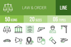 50 Law & Order Green & Black Icons
