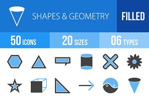 50 Shapes&Geometry Blue&Black Icons