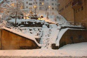 Snowy streets landscape