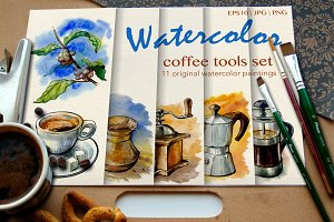 Watercolor coffee tools set