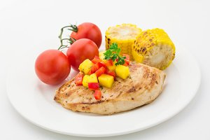 Food plate: chicken and vegetables