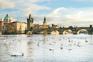 The Vltava river and Charles bridge