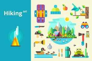 Camping & hiking elements set