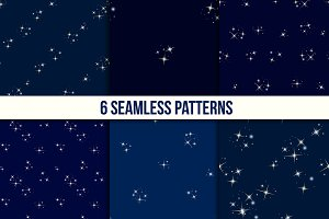 Starry sky seamless set