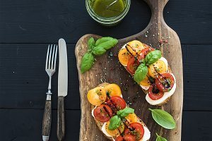 Mozzarella and basil sandwiches