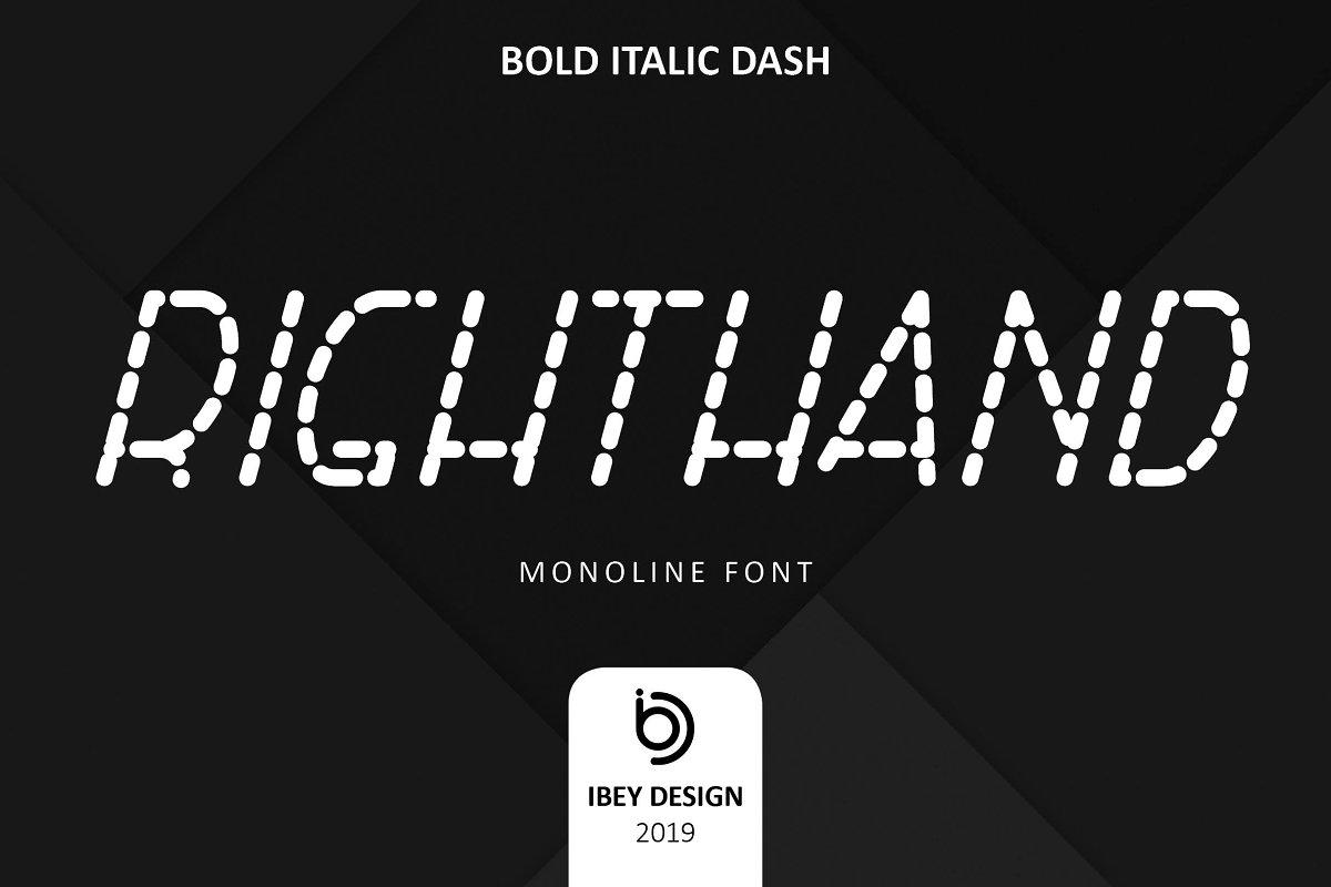 RightHand Bold Italic Dash Font