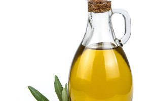 Olive oil bottle an olives isolated
