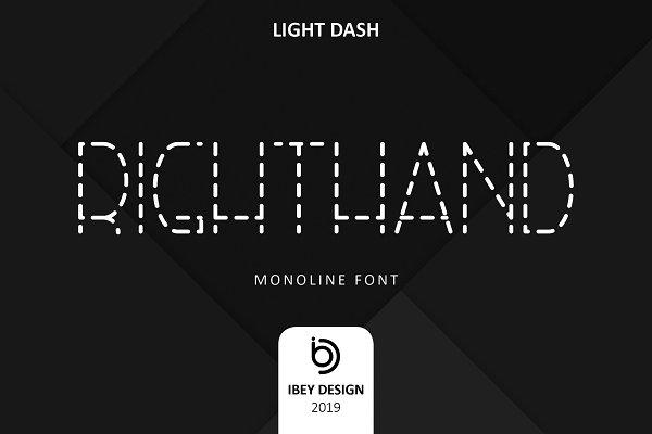RightHand Light Dash - Monoline Font