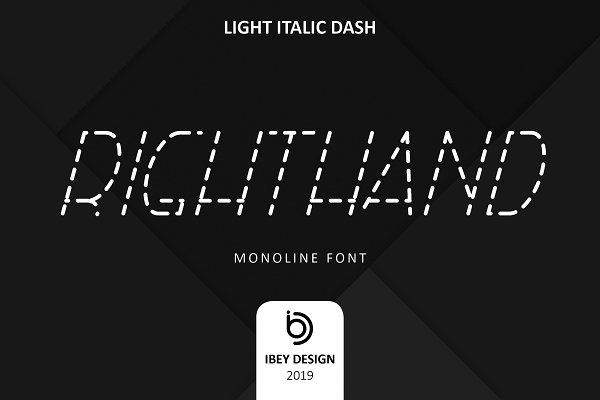 RightHand Light Italic Dash Font