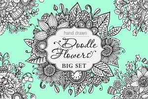 Hand drawn floral doodle set