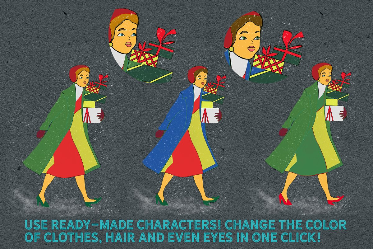 Retro Christmas EFFECTS & BRUSHES PS in Add-Ons - product preview 8