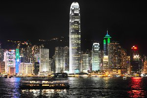 Skyline of Hong Kong island at night
