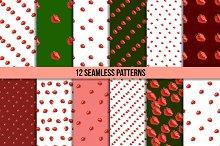 12 strawberry seamless patterns