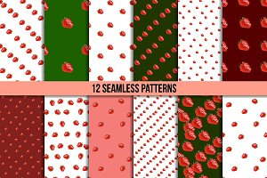 12 strawberry seamless patterns