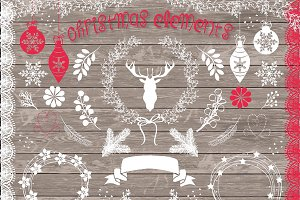 Vector rustic christmas elemets