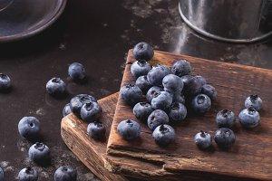 Blueberries on vintage background