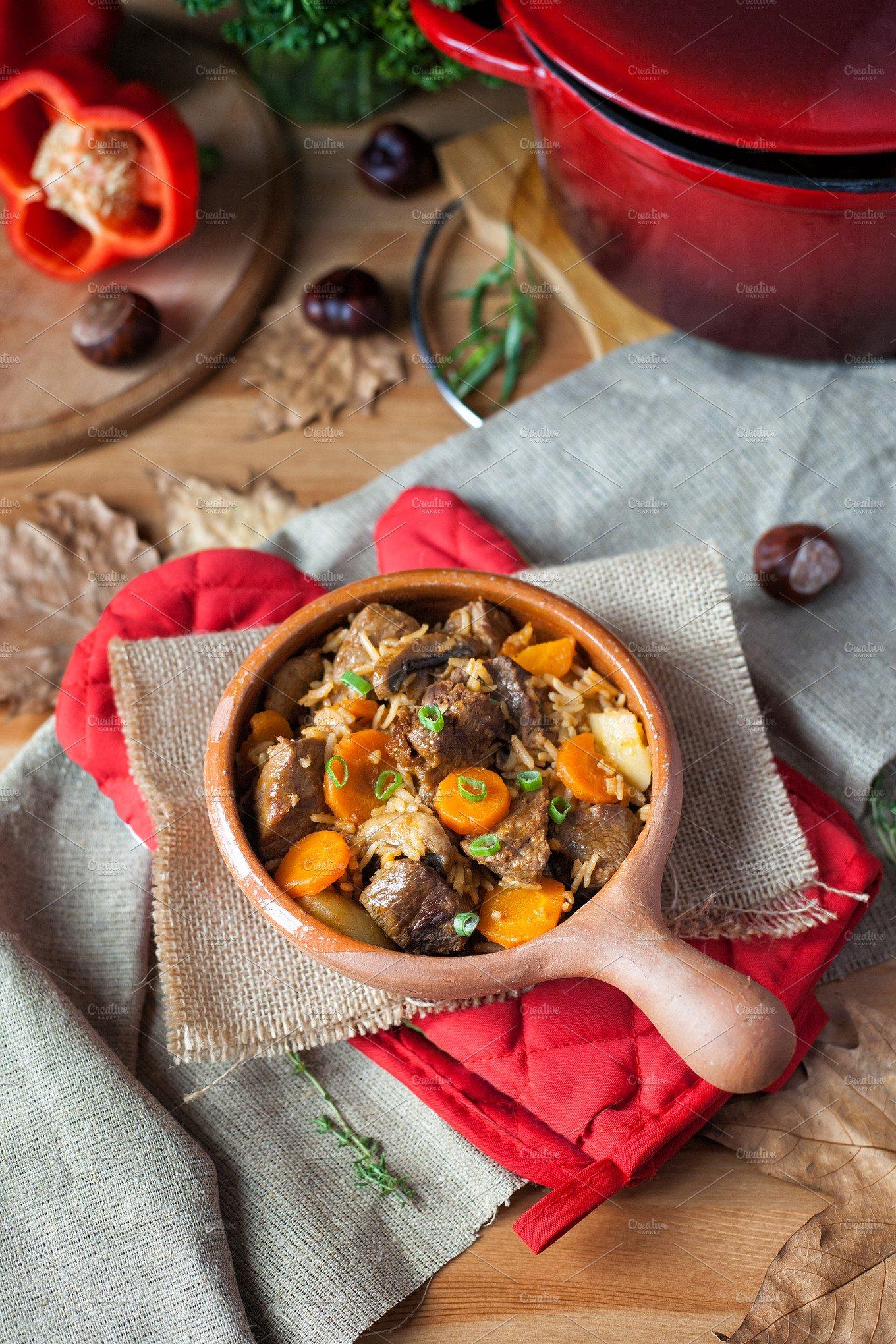 beef stew with vegetables food drink photos creative market. Black Bedroom Furniture Sets. Home Design Ideas