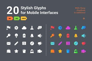 Stylish Glyphs for Mobile Interfaces