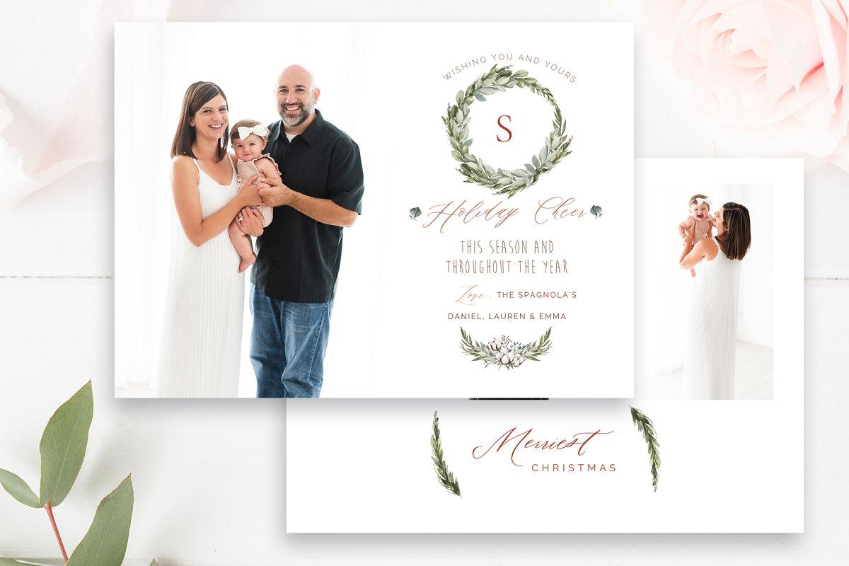 Wreath Holiday Photo Card PSD