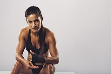Woman boxer getting ready