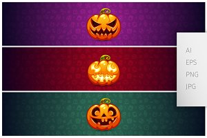 Three Horizontal Halloween Banners