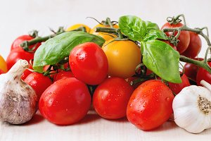 Assortment of tomatoes and vegetable
