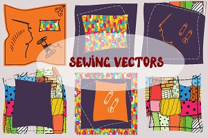 Sewing design elements vectors