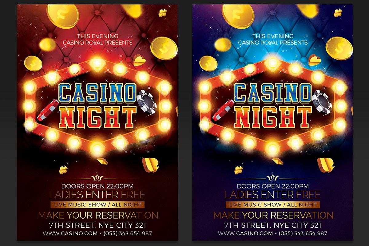 Casino night flyer template college football games week 2