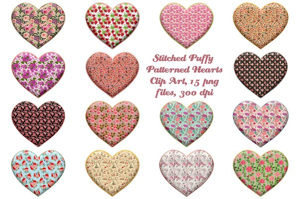 Stitch Puffy Pattern Hearts Clip Art