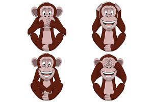 Set of four monkeys