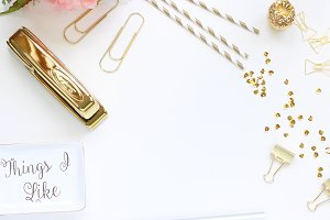 Gold Office Styled Stock Photography