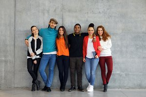 Group of young university students