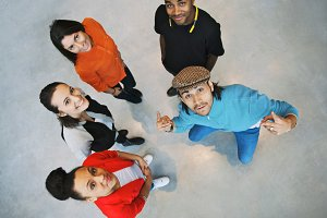 Multiethnic young people smiling
