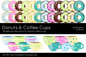 Donuts And Coffee Cups Clip Art