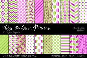 Lilac And Green Digital Papers