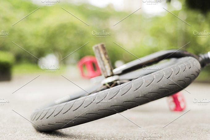 Wheel of a Freestyle Bike on a Floor.jpg - Sports
