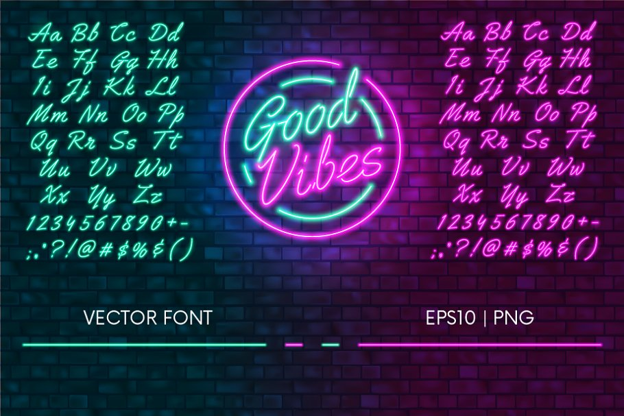 Neon font | Pink and Green ~ Graphics ~ Creative Market