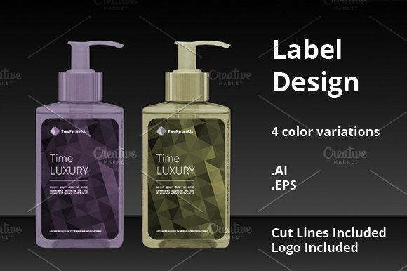 polygon label designs templates creative market