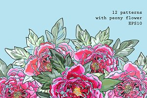 12 patterns with peony flower
