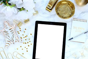 Marble Gold Desktop iPad StyledStock