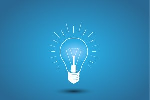 Light bulb, idea icon on blue