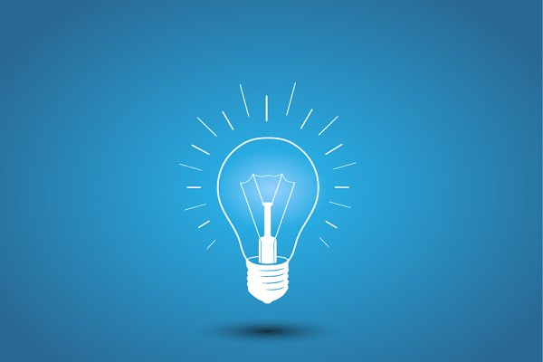 Light bulb, idea icon on blue | Pre-Designed Illustrator Graphics ...