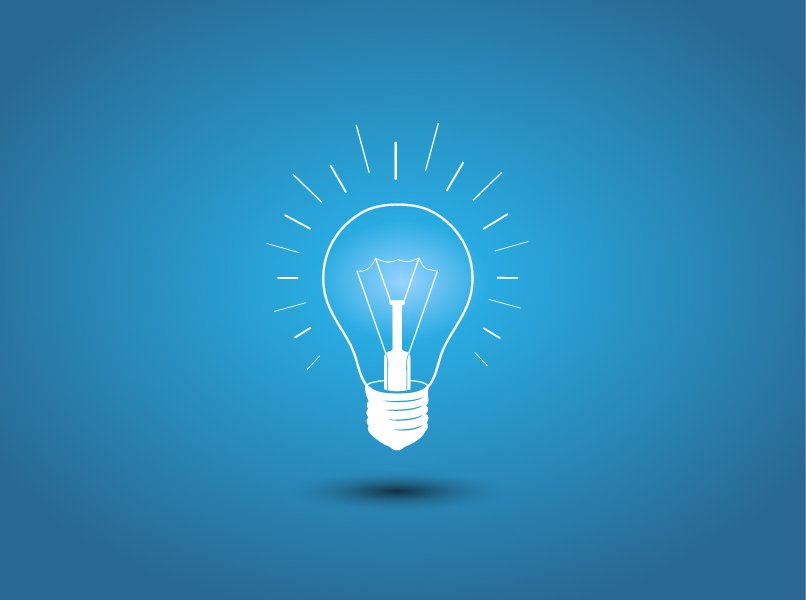 Lightbulb Idea: Light Bulb, Idea Icon On Blue