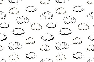 Retro hand drawn engraving clouds