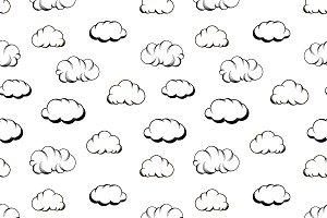 Retro hand drawn engraving clouds
